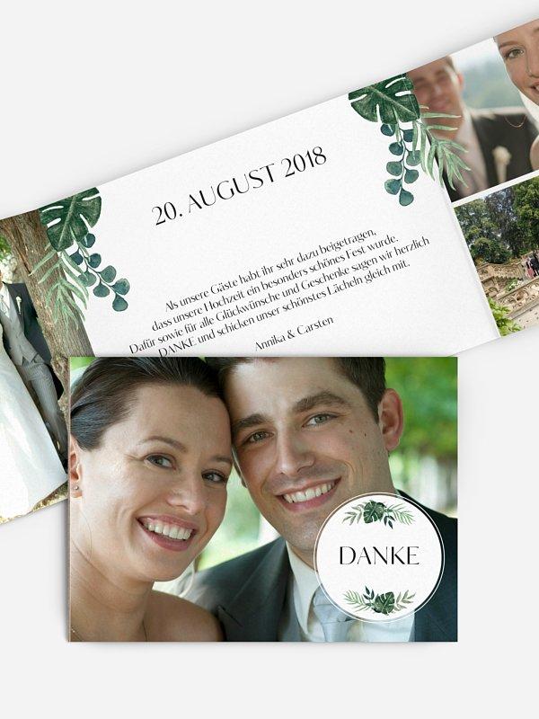 Dankeskarte Hochzeit Greenery Leaves