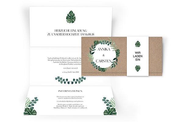 Hochzeitseinladung Greenery Leaves