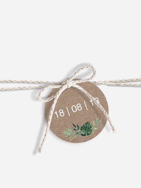 Étiquette avec ruban Couronne champêtre
