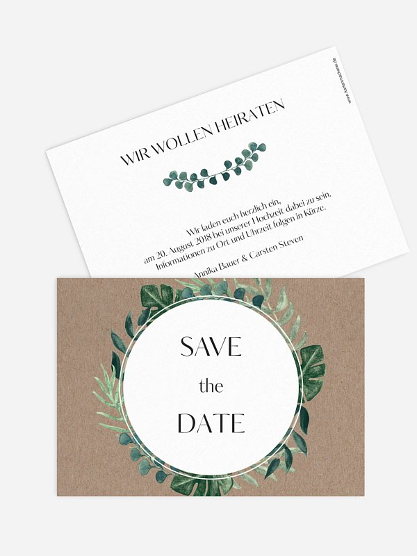 Save-the-Date Karte Greenery Leaves