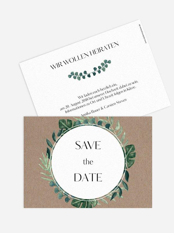 Save-the-Date Karte Greenery Leaves