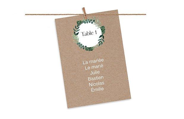 Cartons plan de table mariage Couronne champêtre