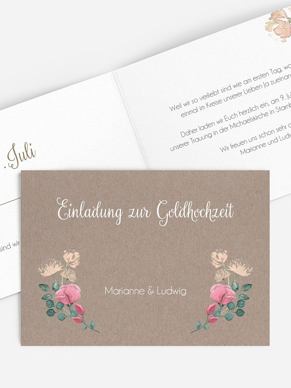 Einladung zur Goldenen Hochzeit Vintage Rose