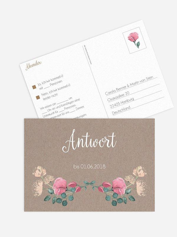 Antwortkarte Hochzeit Vintage Rose