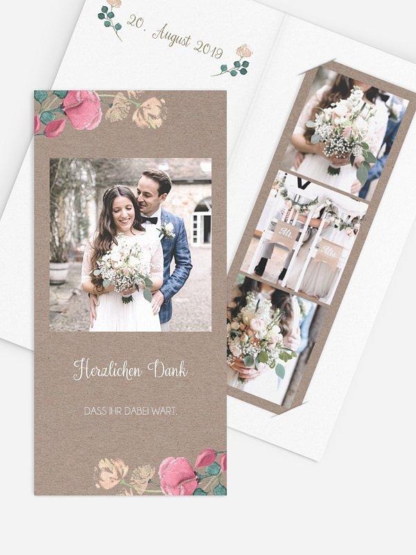 Dankeskarte Hochzeit Vintage Garden