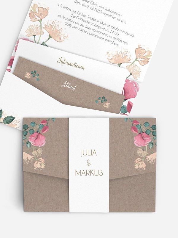 Hochzeitseinladung Vintage Rose
