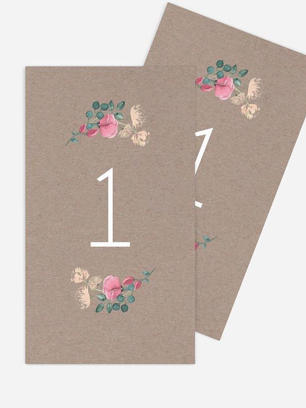 Numéro de table mariage Jardin vintage