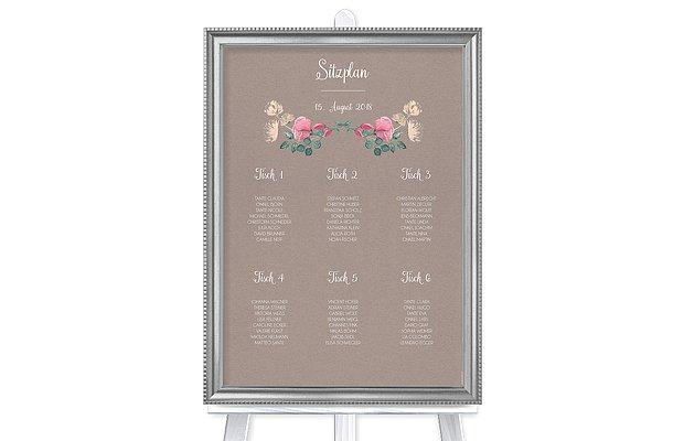 Sitzplan Plakat Vintage Rose