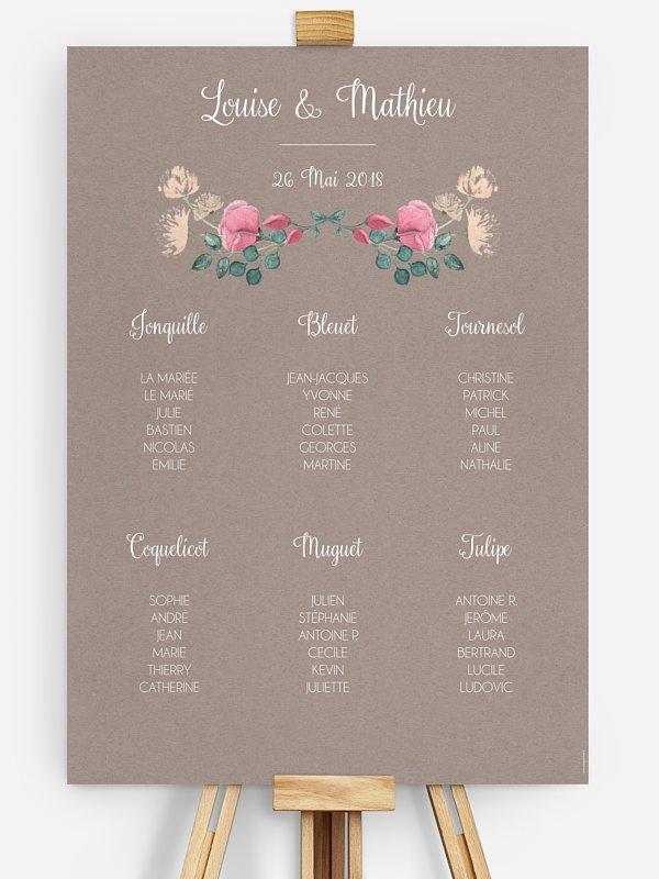 Poster plan de table mariage Jardin vintage