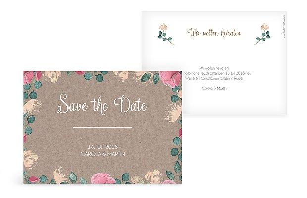 Save The Date Karte Vintage Rose