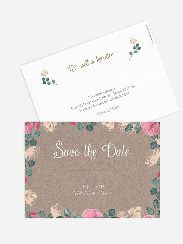 Save-the-Date Karte Vintage Rose