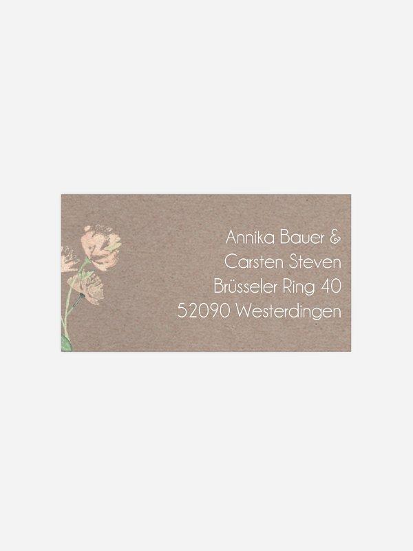 Empfängeraufkleber Hochzeit Vintage Rose