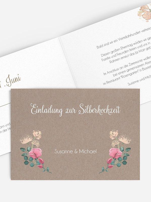 Einladung zur Silberhochzeit Vintage Rose
