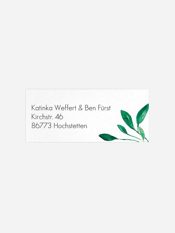 Absenderaufkleber Hochzeit Botanic Love
