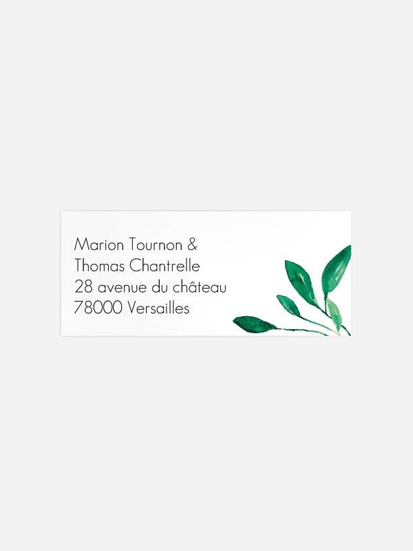 Étiquette expéditeur mariage Botanique