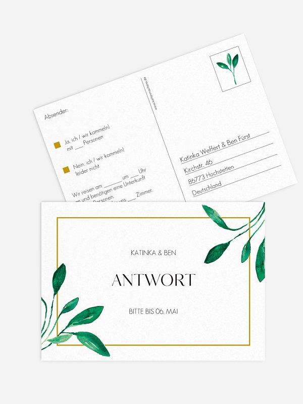 Antwortkarte Hochzeit Botanic Love