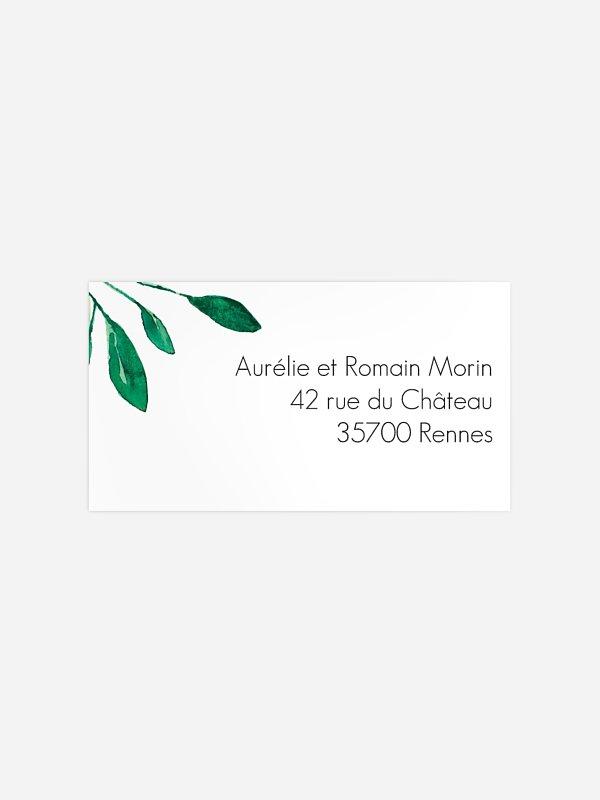 Étiquette destinataire mariage Botanique