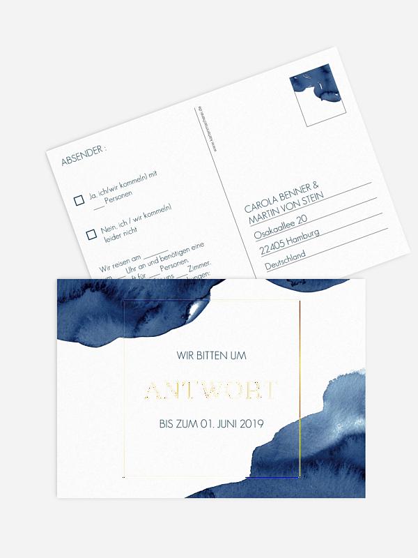 Antwortkarte Hochzeit Modern Aquarelle Premium