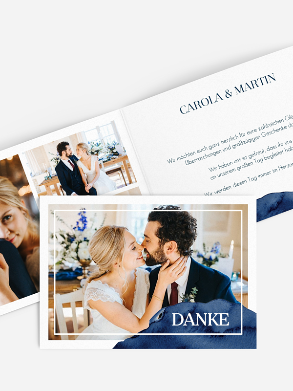 Dankeskarte Hochzeit Modern Aquarelle Premium