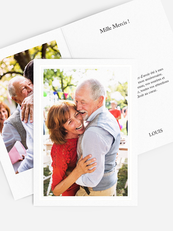 Carte remerciement anniversaire Golden Love Premium