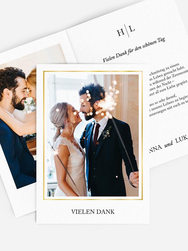 Dankeskarte Hochzeit Golden Love Premium