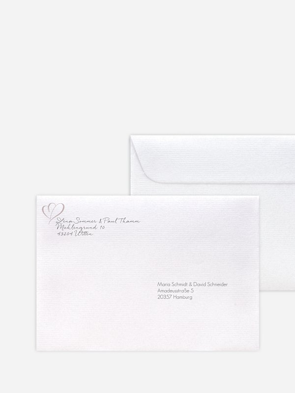 Bedruckter Briefumschlag Hochzeit Herz an Herz
