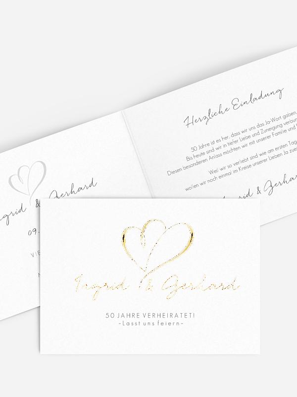 Einladung zur Goldenen Hochzeit Herz an Herz