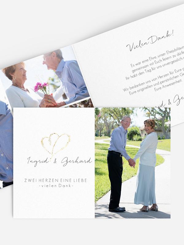 Danksagung zur Goldenen Hochzeit Herz an Herz