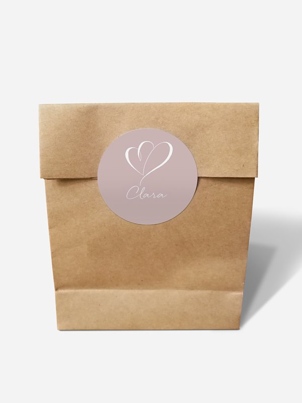 Papiertüte personalisiert Herz an Herz