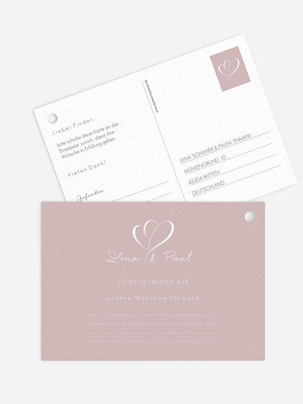 Ballonkarte Hochzeit Herz an Herz