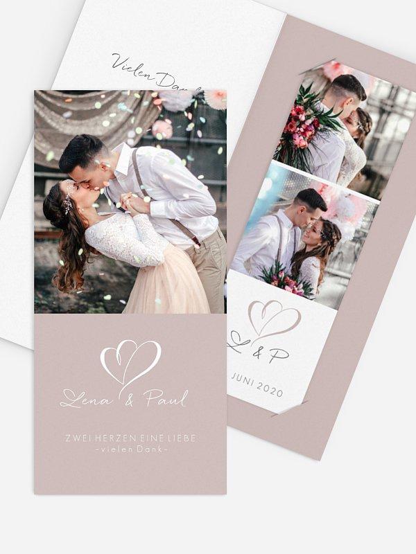 Dankeskarte Hochzeit Herz an Herz