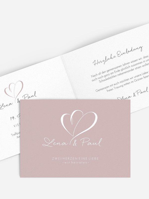 Hochzeitseinladung Herz an Herz