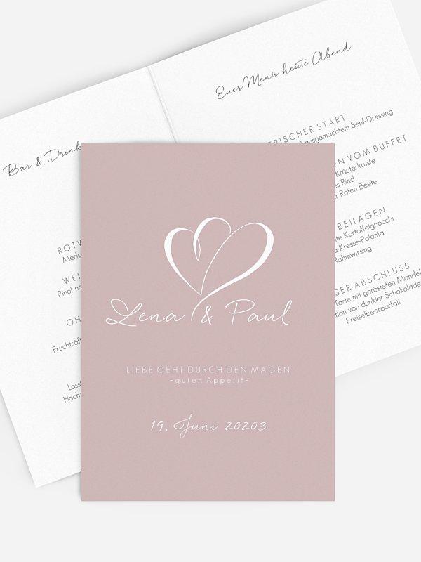 Menükarte Hochzeit Herz an Herz