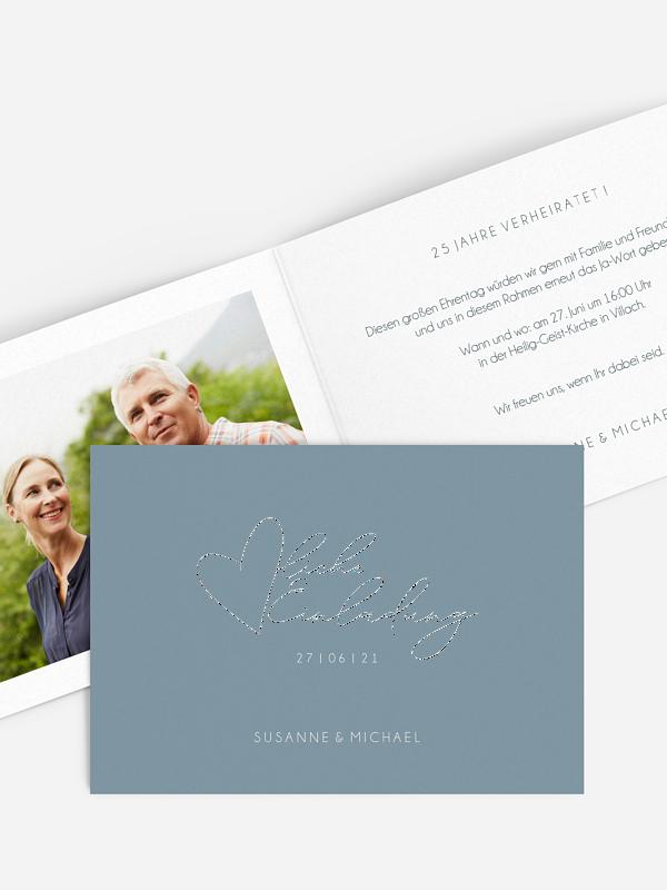 Einladung zur Silberhochzeit Liebesbotschaft