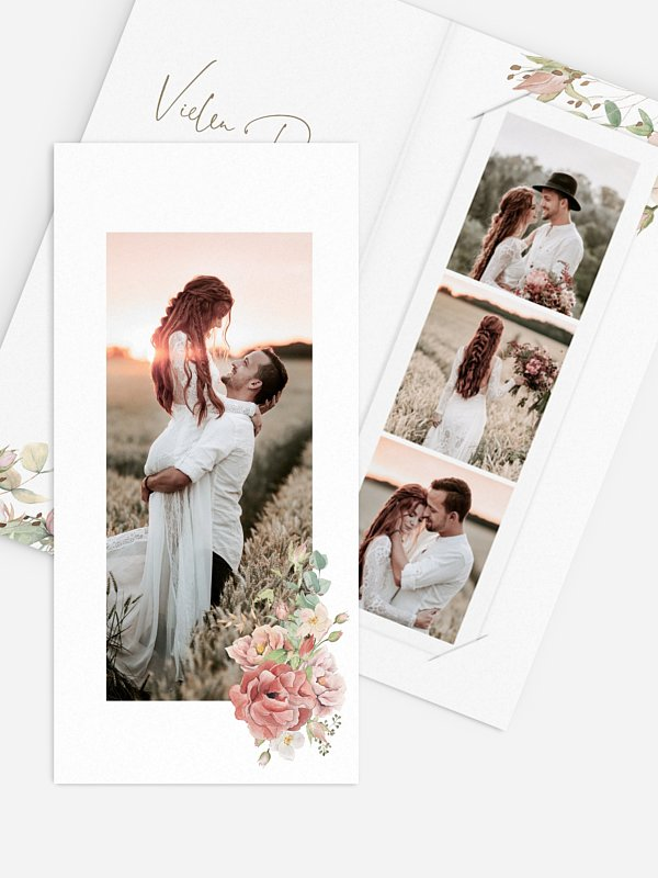 Dankeskarte Hochzeit Romantic Garden