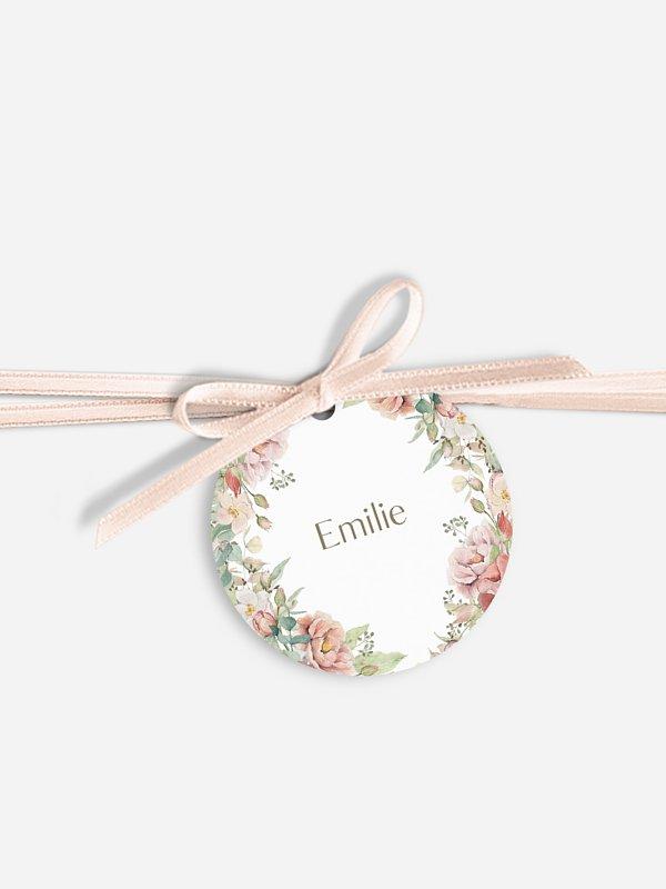 Étiquette avec ruban mariage individuelle Jardin romantique