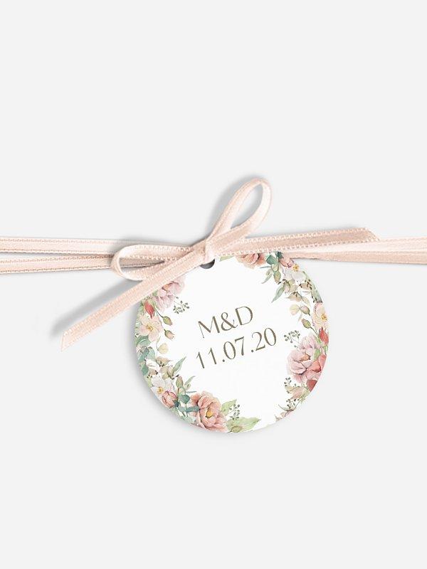 Étiquette avec ruban Jardin romantique