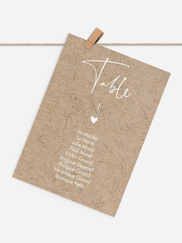Cartons plan de table mariage Crafty