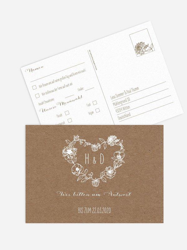 Antwortkarte Hochzeit Blühende Liebe
