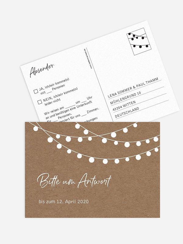 Antwortkarte Hochzeit Lichterzauber