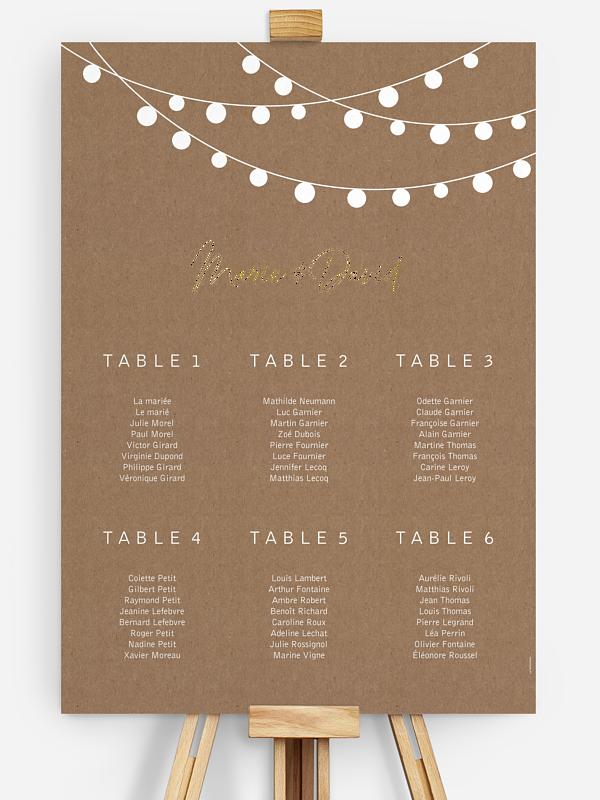 Poster plan de table mariage Guirlande lumineuse