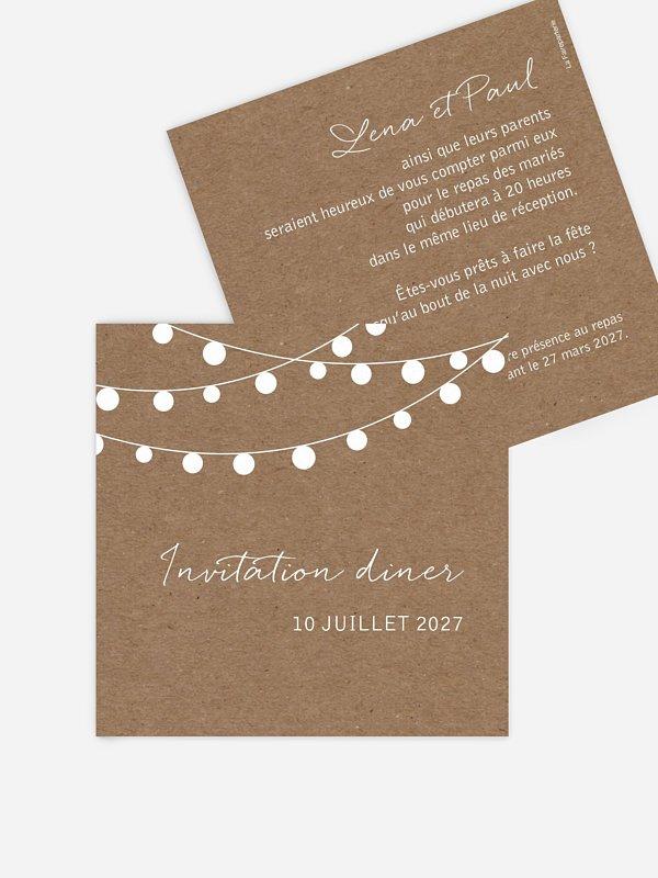 Carton d'invitation Guirlande lumineuse