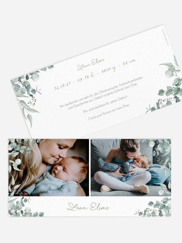 Geburtskarte Soft Greenery
