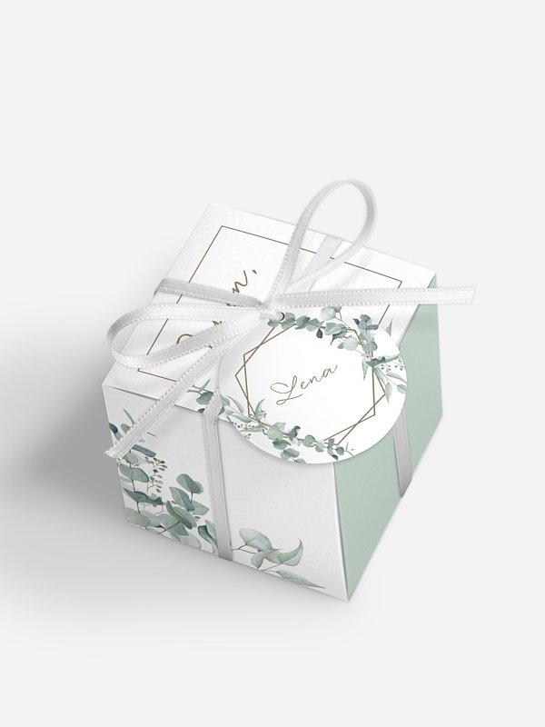 Gastgeschenkbox personalisiert Soft Greenery
