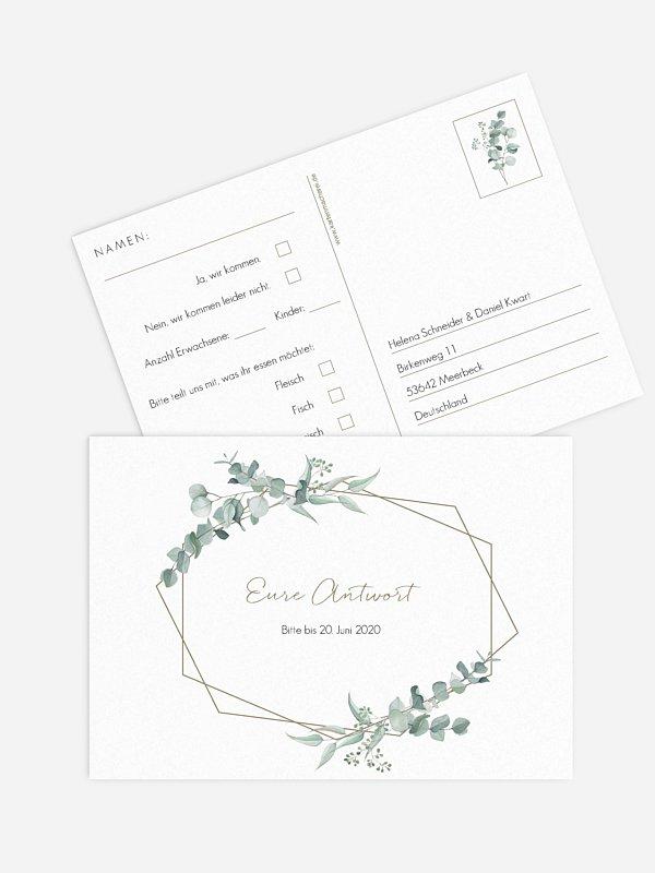 Antwortkarte Hochzeit Soft Greenery