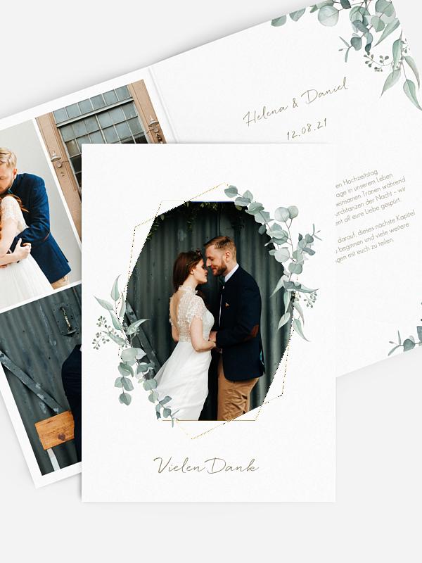 Dankeskarte Hochzeit Soft Greenery