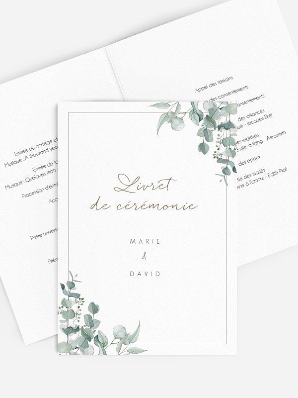 Livret de messe mariage Soft Greenery