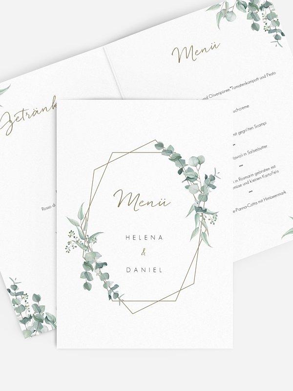 Menükarte Hochzeit Soft Greenery