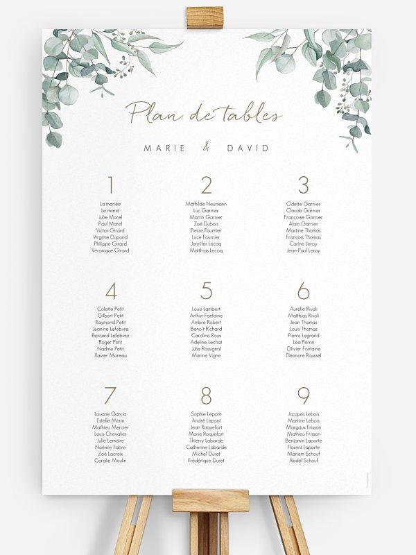 Poster plan de table mariage Soft Greenery