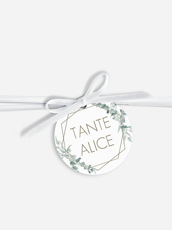 Étiquette avec ruban mariage individuelle Soft Greenery